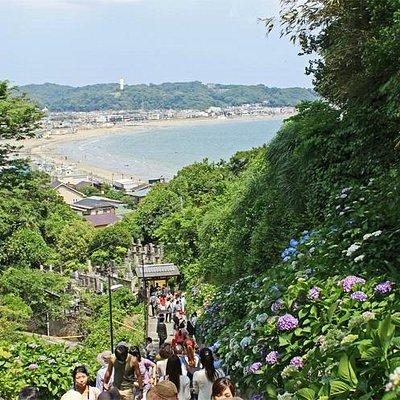 参道から見た鎌倉の海