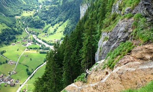 After climbing down three ladders we climb across this waterfall overlooking Lauterbrunnen Valle