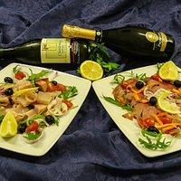 Cubetti di pesce spada affumicati e Carpaccio di tonno