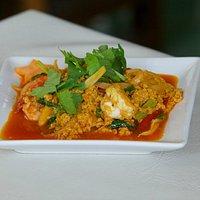 Fresh prawns with curry.