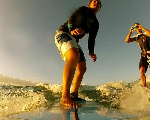 """Esther and Brian - On the set making a """"home surf movie"""". This video is viewable on my website."""