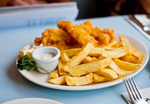 Fish and chips at Poppies