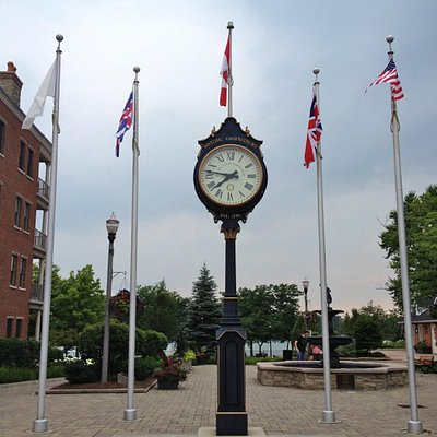 Town clock and flags