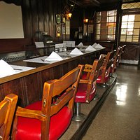 Swivel armchairs at lunch counter