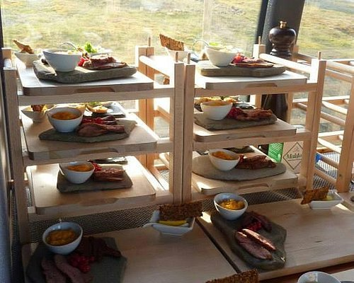 Arctic food served in the bus.