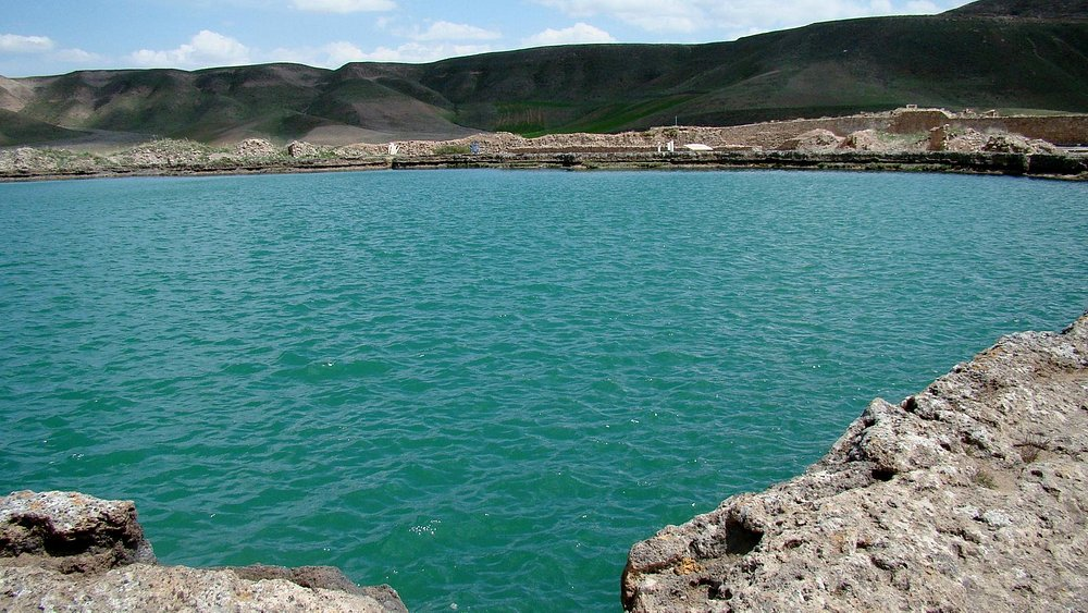 The turquoise blue waters of the lake
