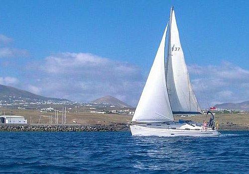 Endeavour Sailing, Manjaro sailing just outside of Puerto Calero Marina, Lanzarote