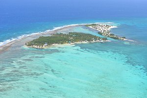 Isla Marisol is located on Southwest Caye, as seen here from the air.