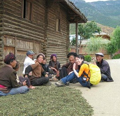 Chatting with locals in Lugu Lake