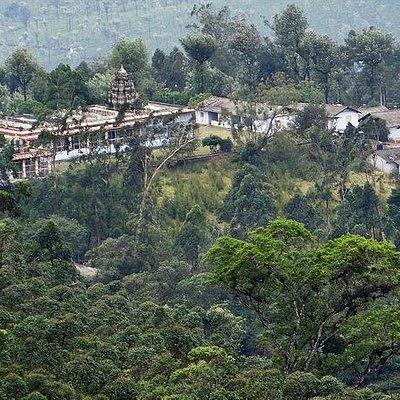 Valparai Balaji Temple seen from mountain above