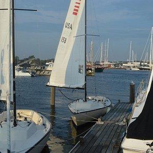 waiting to board Newport Sailing School