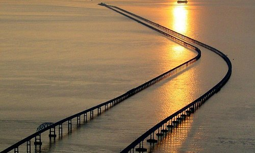 Spectacular sunsets are an almost daily occurrence  along the Chesapeake Bay Bridge-Tunnel