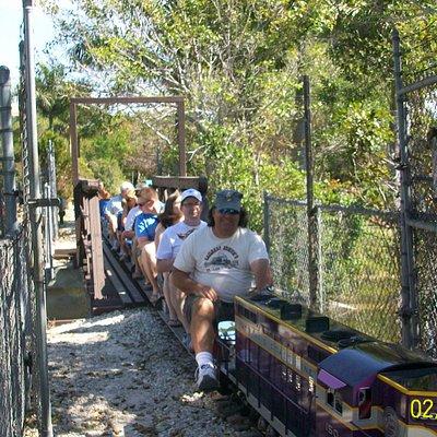Ride thru the wilderness on open passenger cars