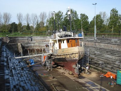Small ship in the dock