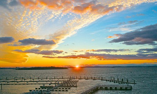 Sunset at the A Street Pier and Sunset Bay Marina, Hull, Mass