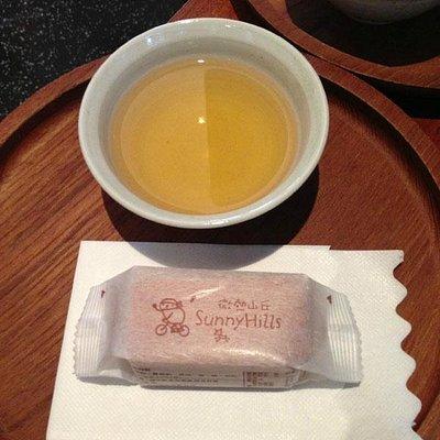 試食品(現物)とお茶