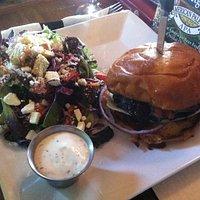mushroom burger with salad