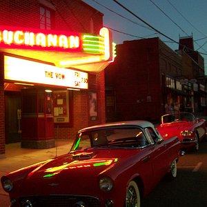The Buchanan Theatre neon light up Main Street.