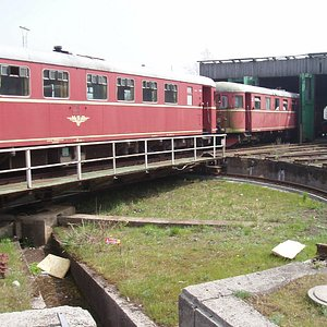Train on the turntable