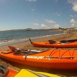 sea kayaking at Praia da Vitória Bay