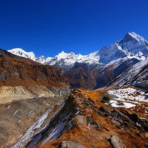 View from the highest point we got to, looking back over Annapurna Base Camp.