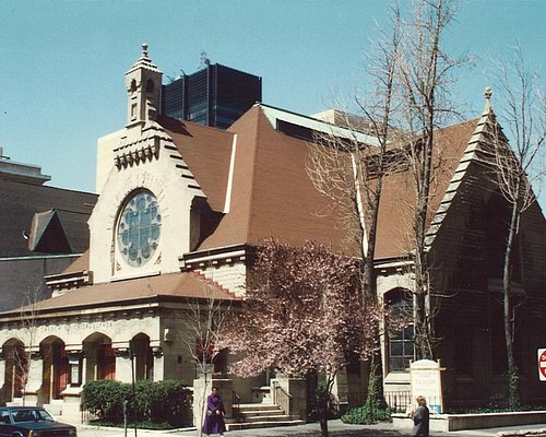 First Unitarian Church, exterior, designed by Frank Furness, 1885.  Notice floral details.