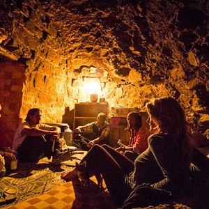 Just before dinner in the cave!