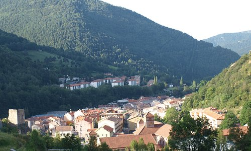 View from room onto Ribes de Freser in the morning