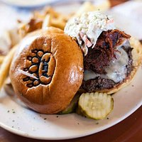 Burger topped with BBQ