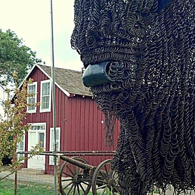 Buffalo sculpture at Fort Wallace Museum