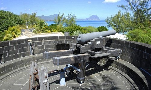 The cannon on the roof of the Martello Tower Museum