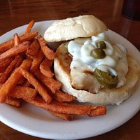 olivepeno chicken sandwich with sweet potato fries