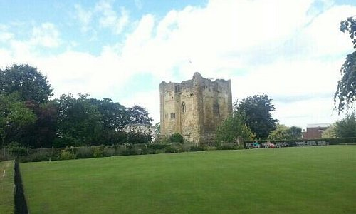 Guilford Castle from the Green bowls field
