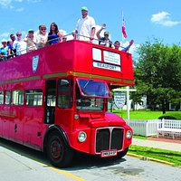 The English Double Decker bus is available for tours of historic Beaufort and for charter