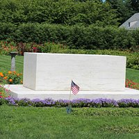 Burial location of FDR, Eleanor, and behind the stone...Fala