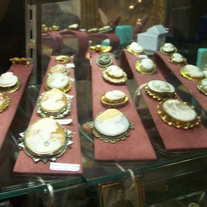The shop specializes in antique jewelry including a huge assortment of cameos.