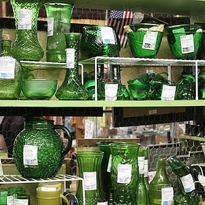 "Gotta love that ""Forest Green Glassware"""