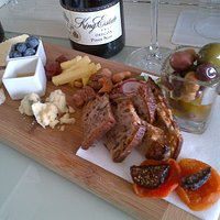 Meat and cheese and olive plate - perfect!