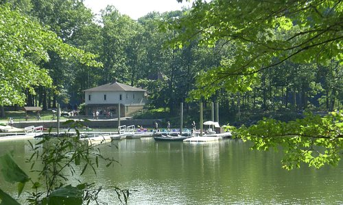 View of the Boat House and Ramp from the hiking trails