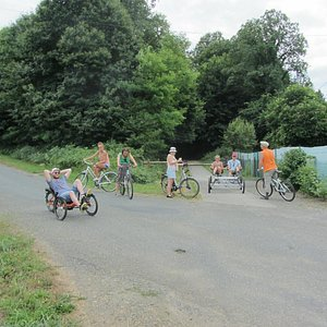 Most of our group at one of the crossing points of the track over a minor road.