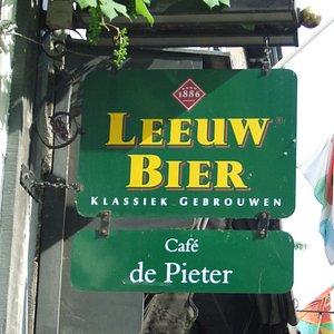 The cafe sign at Cafe de Pieter