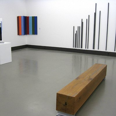 A room on 1st floor with collection of abstract art