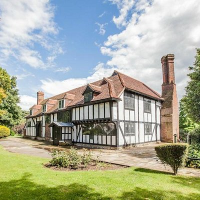 Rare example of timber framed moated medieval manor house Southchurch Hall Southend on Sea