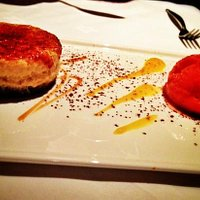 earl gray and lime cheese cake with strawberry & black pepper sorbet