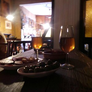 enjoying the sherry
