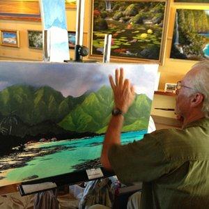 The artist himself painting