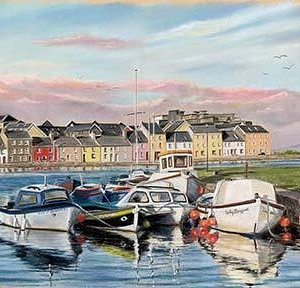 Evening Shadows at The Longwalk, Claddagh, Galway.  Original painting by Vanda