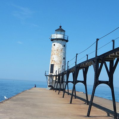 Manistee North Pierhead light at the mouth of the Manistee River