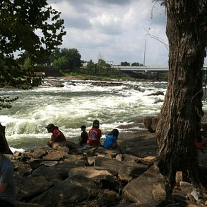 River gorge with whitewater rapids goes right by downtown Columbus. GA