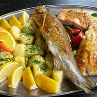 Trout, salmon and sandre with side dish